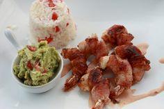Camarones Costa Azul, Bacon wrapped shrimp.   Mexican Food Comida Mexicana