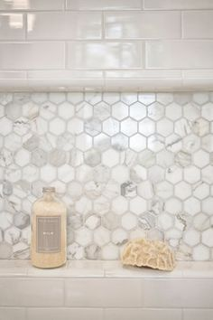 39 Fancy Hexagon Tiles Mold,Fancy Hexagon Tiles Mold Mill Valley Estate Bathroom Shower Niche Tile Is Calacatta Hexagon, Mold In Bathroom, Upstairs Bathrooms, Bathroom Renos, Bathroom Flooring, Bathroom Interior, Bathroom Ideas, Better Bathrooms, Bathroom Niche, Bathroom Canvas