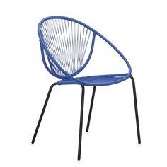 Fauteuil de jardin esprit rétro bleu Bleu/noir - Mahonia - Les chaises de jardin - Meubles de jardin - Tous les meubles - Décoration d'intérieur - #AlineaPE2014