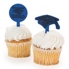 """Blue """"Congrats Grad"""" Food Picks - OrientalTrading.com"""