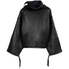 Rag & Bone Bonded Leather Pullover (28.690 RUB) ❤ liked on Polyvore featuring tops, sweaters, jackets, black, oversized pullover sweater, wet look top, rag bone sweater, pullover sweaters and oversized sweaters
