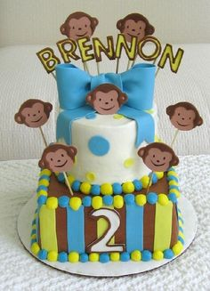 """8""""/6"""" Buttercream covered with fondant decorations. Make to match mod monkey party ware."""