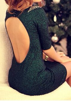 Green Beaded Backless Dress - Sizzling Hot Open Back Dress