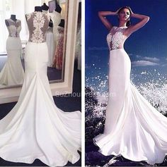 Custom White Appliques Mermaid Evening Dresses 2015 Sheer O-Neck Zipper Satin Prom Gowns Party Dress,Wedding Dresses
