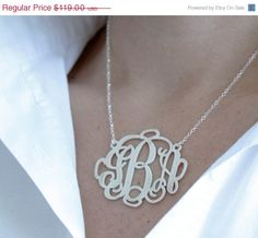 """JUNE SALE Extra Large 2"""" Monogram Necklace Personalized Monogram Necklace in Sterling Silver....best one!"""