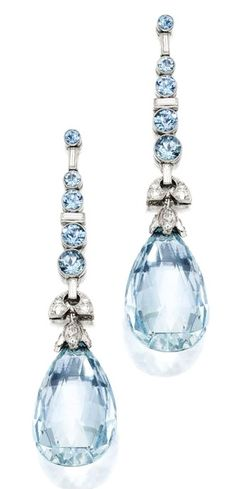 PAIR OF PLATINUM, AQUAMARINE AND DIAMOND EARRINGS. Set with briolette and round aquamarines weighing approximately 35.80 carats, accented by round and baguette diamonds weighing approximately .60 carat.