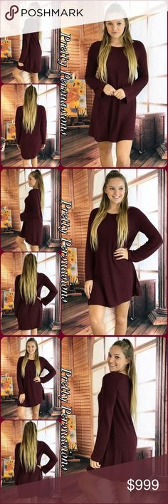 """NWT Burgundy Long Sleeve Cozy Knit Sweater Dress NWT Burgundy Long Sleeve Cozy Knit Sweater Dress  Available in S, M, L Measurements taken from a small  Length: 34"""" Bust: 36"""" Waist: 38""""  Viscose/Nylon/Poly  Features • long sleeves  • scoop neckline  • soft, breathable material  • relaxed, easy fit w/stretch  ** Also Available in Dark Olive Green **  Bundle discounts available  No pp or trades   Item # 1/1011230390OGSD burgundy wine olive green knit sweater dress sweater weather fall style…"""