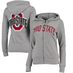 Ohio State Buckeyes Juniors Boyfriend Sleeve Stripe Full-Zip Hoodie - Gray