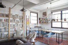 Coral & Tusk Studio Tour // creative workspace with neutral tones and blue chairs