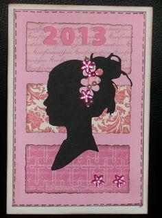 Konfirmationskort fra 2013 - pigekort med silhuet