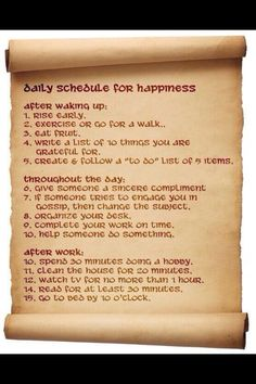 Daily schedule for happiness