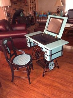 Sewing Machine repurposed antique sewing machine, painted furniture, repurposing upcycling - This old Singer had been sitting in a barn for many years waiting to be rediscovered. Restoration wasn't an option, but a vanity was. The top was re-hinged to f… Sewing Machine Tables, Treadle Sewing Machines, Antique Sewing Machines, Sewing Tables, Sewing Desk, Refurbished Furniture, Repurposed Furniture, Furniture Makeover, Painted Furniture