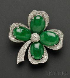 Art Deco Platinum, Jadeite, and Diamond Shamrock Brooch
