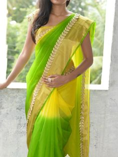 Green and Yellow Shaded Organza Designer Saree