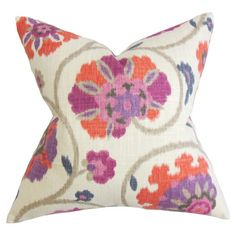 Cotton throw pillow with a floral motif feather-down insert. Made in Boston.  Product: PillowConstruction Material: ...