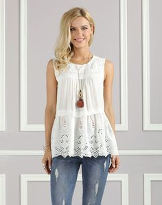#AdoreWe #VIPme Tanks & Camis❤️Designer Suzanne Betro White Eyelet Lace-Accent Tiered Tank - Plus Too - AdoreWe.com
