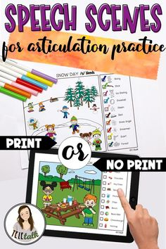 Speech Scenes for Articulation Practice: Print or No-Print Preschool Speech Therapy, Articulation Therapy, Articulation Activities, Speech Activities, Speech Language Pathology, Speech Therapy Activities, Language Activities, Speech And Language, Play Therapy