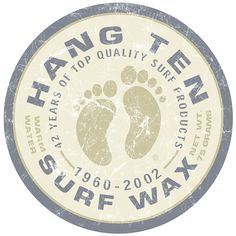 Hang Ten Surfing Wax Footprints Logo Tin Sign | Beach House Decor | RetroPlanet.com