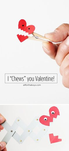 I chews you valentine craft with a chocolate kiss! First heart looks easy...second one...not so much! From All for the Boys blog