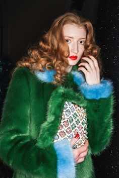 Green and Blue faux fur at Shrimps AW15 LFW. See more here: http://www.dazeddigital.com/fashion/article/23729/1/shrimps-aw15
