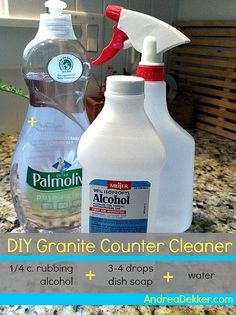 DIY Granite Countertop Cleaner: 1/4c Rubbing Alcohol, 3 4 Drops Dish Shoap,  Water