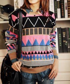 Pink Loose Geometric Patterns Sweater