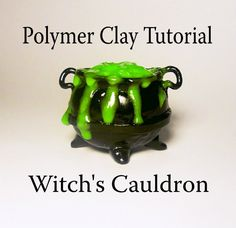 Polymer Clay Witch's Cauldron Tutorial-utube video – Air Dry Clay Polymer Clay Miniatures, Fimo Clay, Polymer Clay Charms, Polymer Clay Projects, Polymer Clay Creations, Handmade Polymer Clay, Clay Crafts, Minis, Biscuit