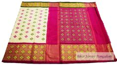 Amazingly crafted Ikat patola silk saree in off white & pink with intricately woven zari border. Code: ISB5205 Write to ikkatsareesbangalore@gmail.com or inbox the message. Contact : +918792177606 www.facebook.com/ikkatsareesbangalore