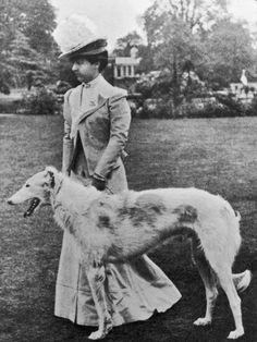 The Duchess of Newcastle and her borzoi.