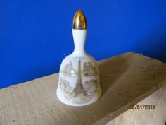"""Vintage French Limoges Souvenir De Paris Porcelain Bell 1 3/4"""" Tall Miniature by EvenTheKitchenSinkOH on Etsy"""