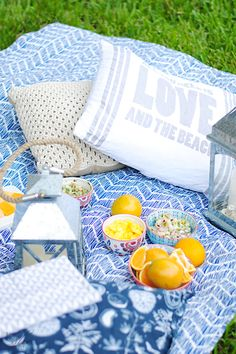 The Perfect Picnic recipe: All you need is a large throw (I found the most beautiful coastal blue one at HomeGoods), a couple of decorative pillows and food! The idea is to feel as relaxed as possible and so, some planning ahead might come in handy.