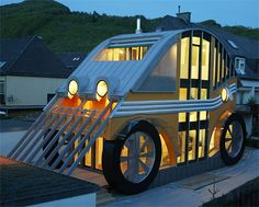 This unique car home is located in Salzburg, Austria. It may look small, but it's actually large enough to house 2 generations of families in 2 separate portions of the home!