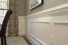 Royal Oaks Homes' Davidson Floorplan: Formal Dining Room with Chair Rail, Crown… Black Wainscoting, Wainscoting Hallway, Wainscoting Kitchen, Painted Wainscoting, Wainscoting Panels, Wainscoting Ideas, Small Dining, My Living Room, Home Remodeling