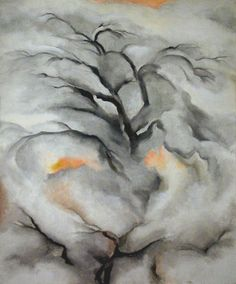 Georgia O'Keeffe (Am., 1887-1986), Winter Trees, Abiquiu, I, 1950, oil on canvas, private collection