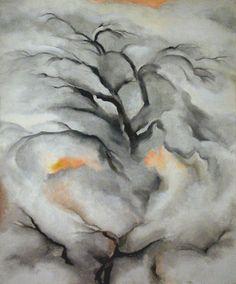 Georgia O'Keeffe (Am., 1887-1986), Winter Trees, Abiquiu, I, 1950, oil on canvas, private collection