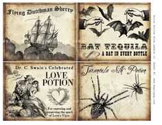 Witch Wine Labels II 4x5 digital collage sheet for potions Halloween dinner…