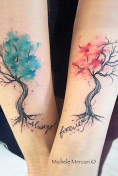 Watercolor Couple Tattoo With Trees ★ Small, unique, simpe, matching and meaningful love couple tattoos for soul mates. tattoos soul mates 29 Incredible And Bonding Couple Tattoos To Show Your Passion And Eternal Devotion Unique Tattoos, Cool Tattoos, Unique Couples Tattoos, Small Tattoos, Tatoos, Tattoo Soeur, Element Tattoo, Meaningful Tattoos For Couples, Tattoo For Couples