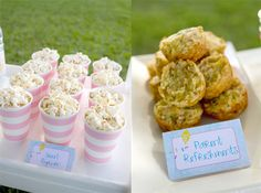 pink and white popcorn cups