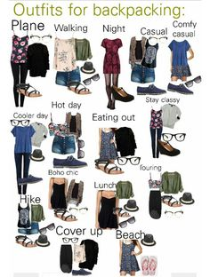 Backpacking travel outfits Created by KateLynn Beutler on P Vacation Outfits, Summer Outfits, Cute Outfits, Travel Outfits, Summer Camping Outfits, Easy Outfits, Cruise Vacation, Vacations, Travel Wardrobe