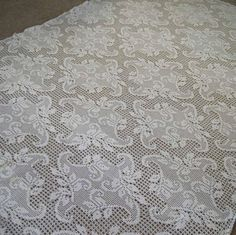 Vintage Hand Crochet Tablecloth White Filet Lace by MissIvyVintage, $34.99