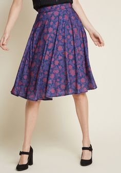 2be09f8f385 Just This Sway A-Line Skirt in Navy Floral. ModCloth