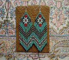 Long Beaded Fringe Earrings Native American by hoofandarrow, $75.00