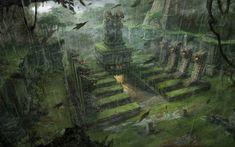Tomb Raider Underworld conceptual artwork Lara Croft fantasy jungle inca aztec mayan architecture rain drops buildings wallpaper   1920x1200...
