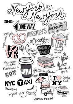 New York City bullet journal doodles by Sernur ISIK, via Behance.