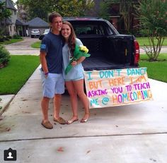 """I don't dance"" - Lee Brice I'm obsessed with this Homecoming proposal. Seriously the cutest prom proposal ever!"