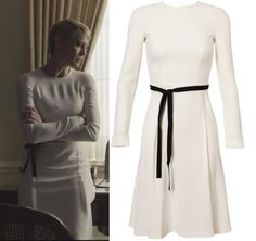 Claire House of Cards Robin White Long Sleeve Dress Black belt HOUSE OF CARDS SEASON 2 FASHION: WHAT CLAIRE WORE EP 3 6