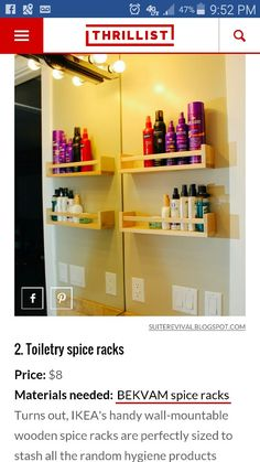 Spice rack shelving