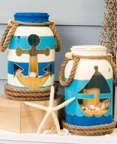Salty air, wave washed sand and fun summer days. bring the joy of the beach into your home with these nautical inspired mason jars! (Diy Crafts With Mason Jars) Mason Jar Projects, Mason Jar Crafts, Mason Jar Diy, Diy Projects, Beach Mason Jars, Beach Crafts, Summer Crafts, Diy Crafts, Paper Crafts