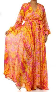 BEAUTIFUL FULL SWEEP Sheer Chiffon MAXI DRESS Wrap Long Skirt Vtg Style PLUS