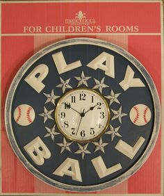 Childrens Clock in Playball design by Marie Ricci. Shown in distressed navy. Handmade and hand painted. Free shipping $200